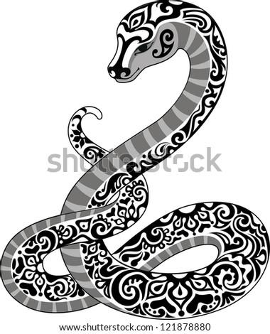 Black and white snake - stock vector