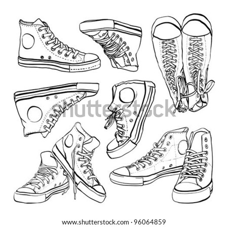 Black and white sneakers set - stock vector