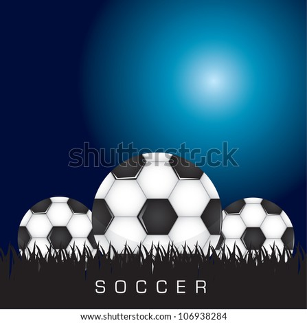 Black and white soccer background with three balls, space to insert text or design, Vector illustration - stock vector