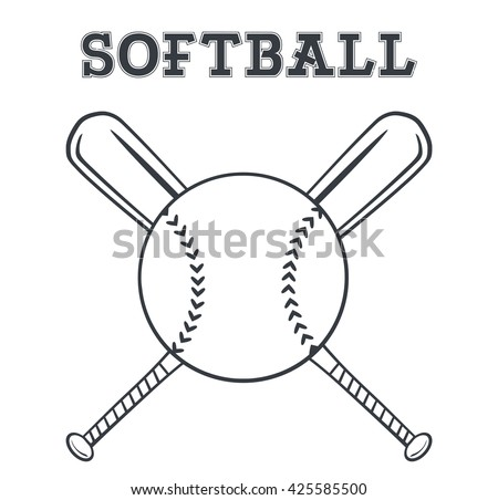 Black And White Softball Over Crossed Bats Logo Design. Vector Illustration With Text Isolated On White Background - stock vector