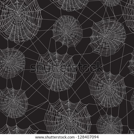Black and white spider web network, seamless background. - stock vector
