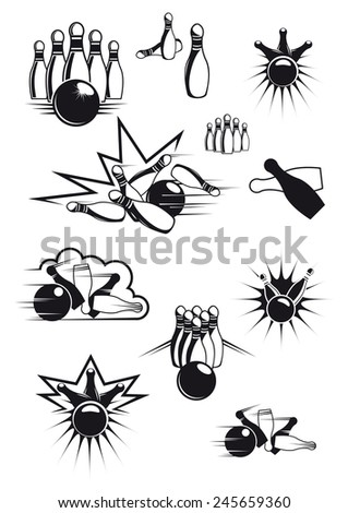 Black and white sports bowling balls and ninepins with motion lines and bang clouds - stock vector