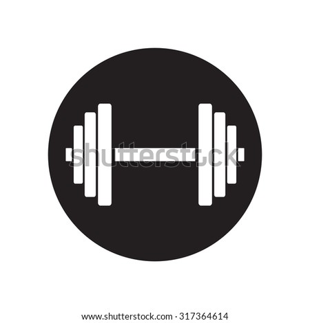 black and white Sports gym equipment. Dumbbell. Classic flat icon. Vector illustration - stock vector