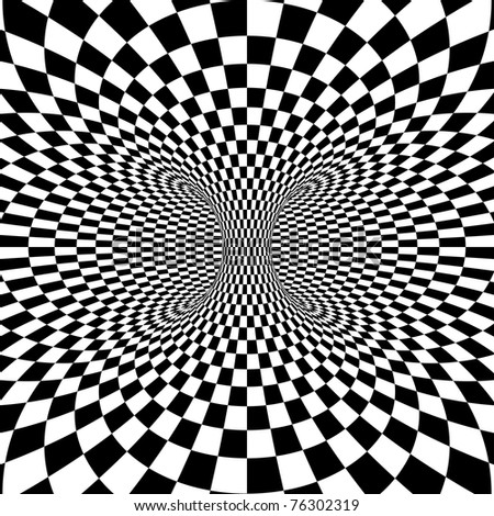 Black and White Squares Projection on Torus. Vector Illustration - stock vector