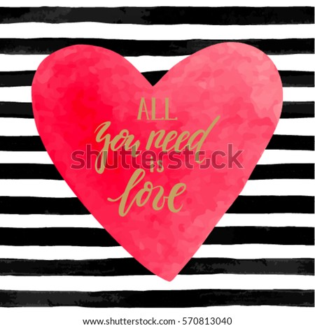 Brand new Black White Striped Background Watercolor Heart Stock Vector HD  VT53