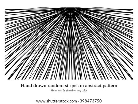 black and white stripes in sunburst or starburst ray pattern with expanding center lines, abstract vector is hand drawn and can go on any color - stock vector