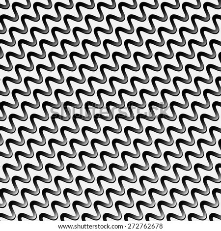 Black and white stripes with zig zag effect - stock vector