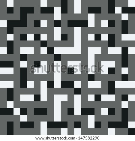 Black-and-white structural vector, 8-bit. Seamless pattern in the style of the first computer games. - stock vector