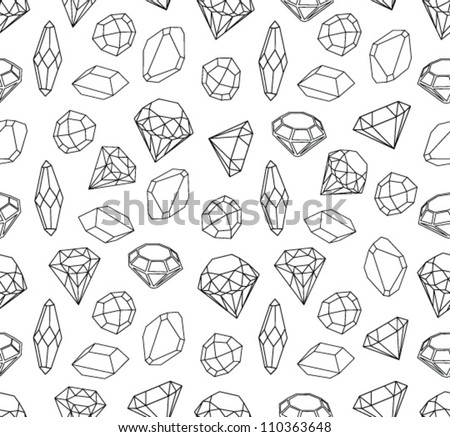 Black and white style diamonds background. Geometric seamless pattern with linear diamonds. - stock vector