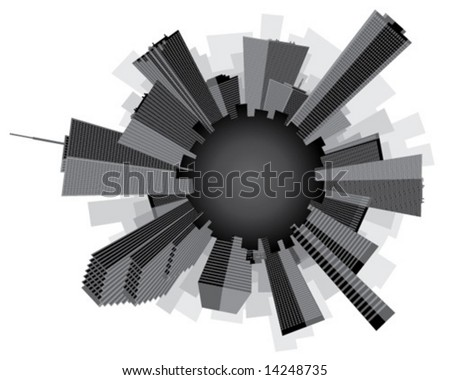 Black and white stylized circular city skyline.  Vector illustration.