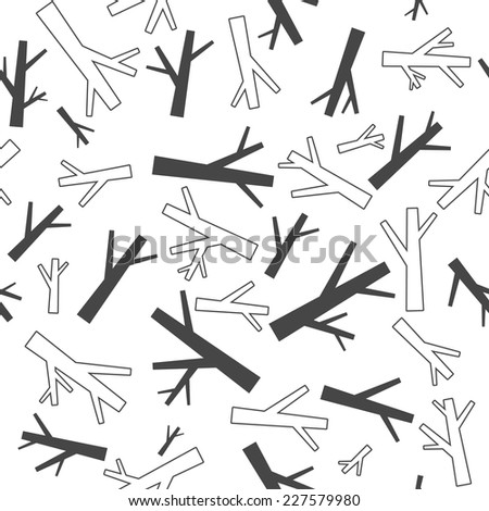 Black and white stylized forest tree branches pattern. Seamless vector monochrome background. - stock vector