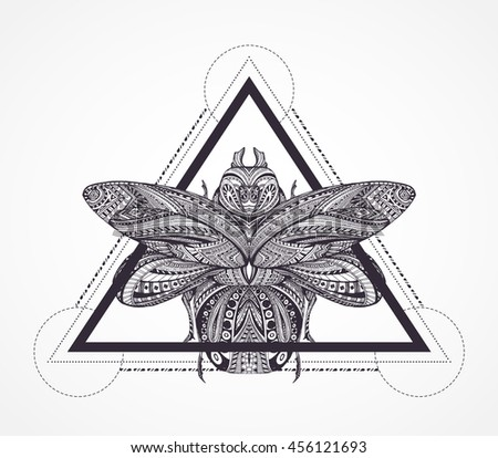 Black White Stylized Scarab Coloring Book Stock Vector 456121693 ...
