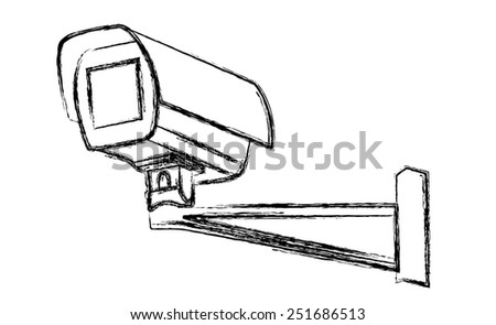 Black and White Surveillance Camera (CCTV) Warning Sign. Vector illustration