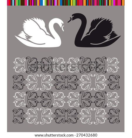 Black and white swans set for design - stock vector