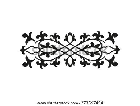 Black and white swirl ornament - stock vector