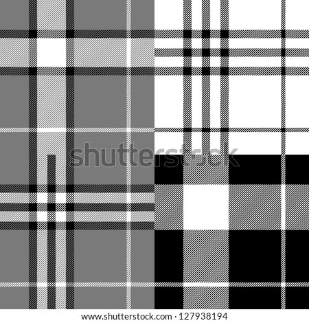 Black and white tartan traditional fabric seamless pattern, vector - stock vector