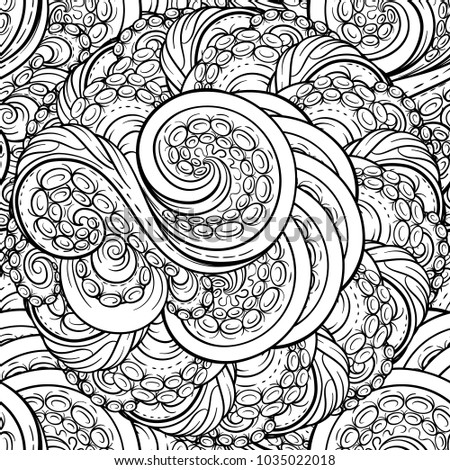 Black and white tentacles vector seamless pattern