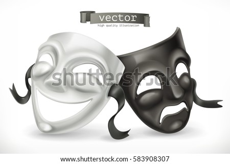 Black and white theatrical masks. Comedy and tragedy 3d vector icon