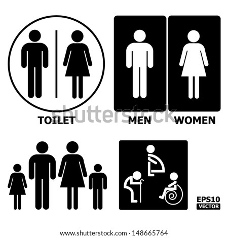 Black and White Toilet Sign with Toilet, Men, Women text, pregnent women, aged and handicapped.-eps10 vector - stock vector
