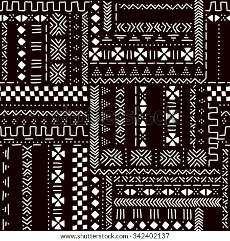 black and white traditional african mudcloth fabric seamless pattern vector