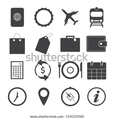 Black and White Travel Icons.Vector EPS10 - stock vector