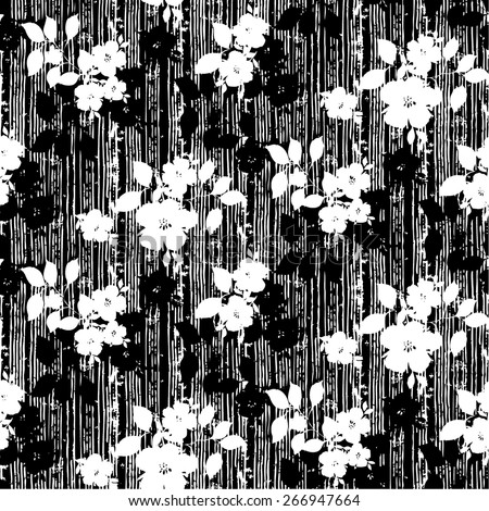 Black and white trendy Seamless Floral Pattern in vector - stock vector