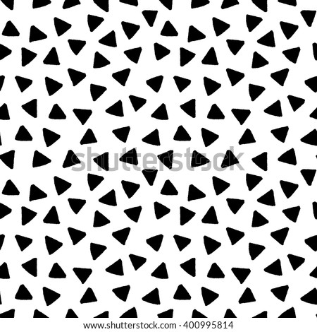 Black and white triangles hand drawn simple geometric seamless pattern, vector - stock vector