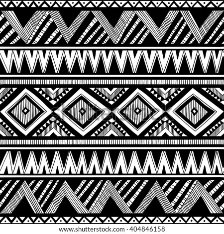 black and white tribal doodle vector seamless pattern. aztec abstract geometric art print. ethnic hipster backdrop. Wallpaper, cloth design, fabric, paper, cover, textile. hand drawn.  - stock vector