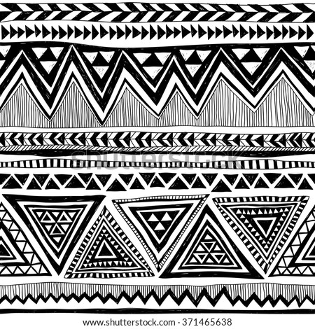 black and white tribal Navajo vector seamless pattern with doodle elements. aztec abstract geometric art print. ethnic hipster backdrop. Wallpaper, cloth design, fabric, paper, textile. Hand drawn - stock vector