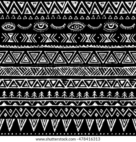 Black And White Tribal Navajo Vector Seamless Pattern With Doodle Elements Aztec Fancy Abstract Geometric