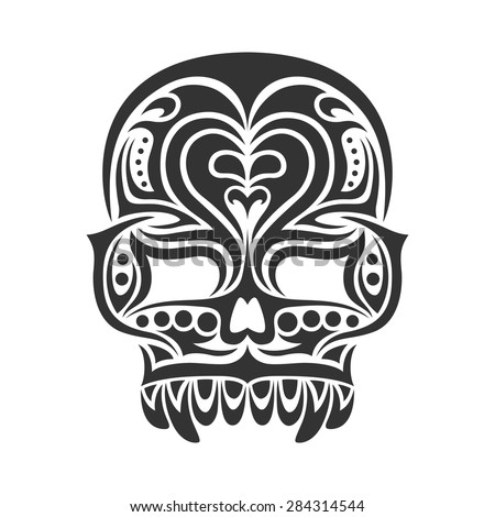 black and white tribal tattoo design of a skull