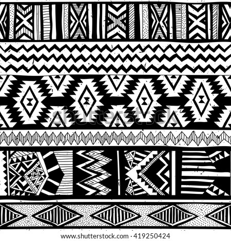 tribal seamless pattern aztec black signs stock vector