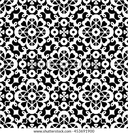 Black and white tulle ornament, lace texture, vector seamless pattern - stock vector
