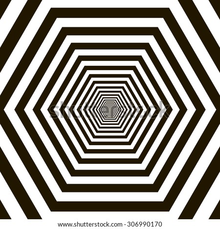 Black and white tunnel vector background - stock vector