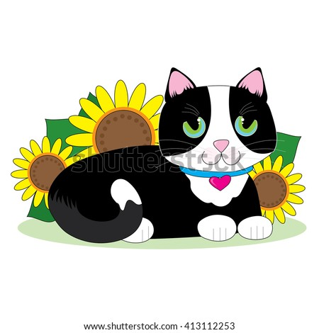 Black and white tuxedo cat lying down in a bed of sunflowers