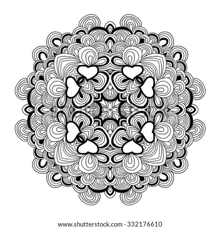 Black and white uncolored hand drawn pattern. Mandala pattern. Can be used as anti-stress coloring tracery.