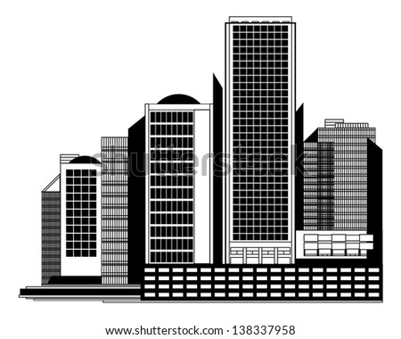 Black and White Urban Panorama with Skyscrapers - vector geometrical graphic - stock vector