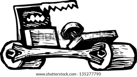 Black and white vctor illustration of a Stone mobile Car
