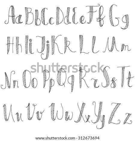 Black and white. Vector alphabet. Letters of the alphabet written chalk. - stock vector