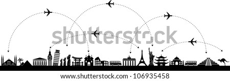 Black and white vector background with a trip with icons - stock vector