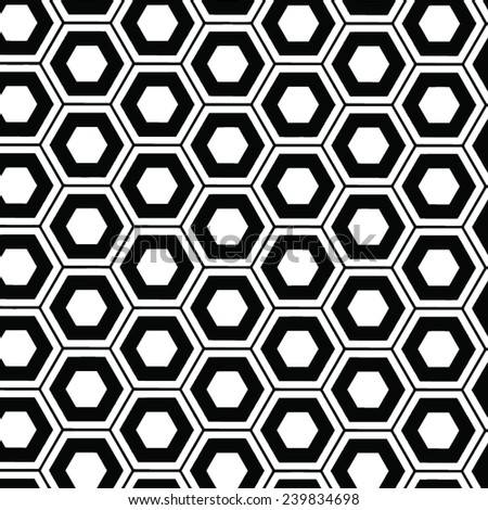black and white vector beehive pattern background - stock vector