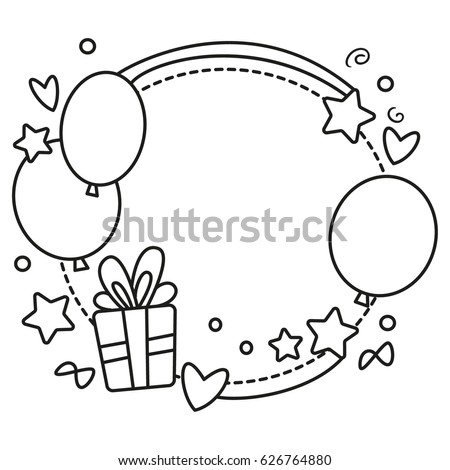 Black white vector border birthday party stock vector 626764880 black and white vector border for birthday party invitation card or greeting card with balloons filmwisefo