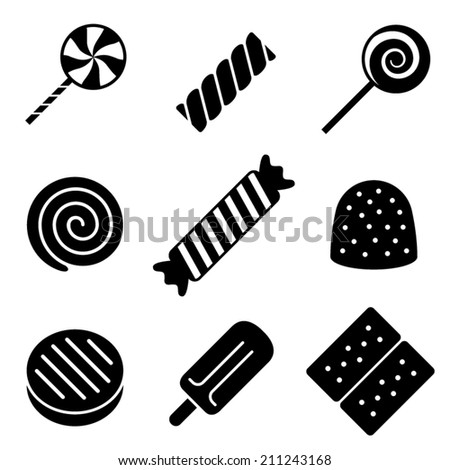 Black and White Vector Candy Icons - stock vector