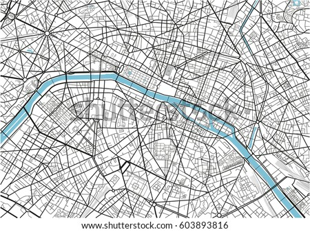 black and white vector city map of paris with well organized separated layers