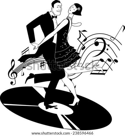 black white vector clipart couple dressed stock vector 238596466 rh shutterstock com 1920s art deco free clip art 1920s car clipart