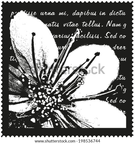 black and white vector design of flower on non-meaningful �´Lorem Ipsum�´ script background - stock vector