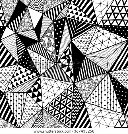 black and white vector doodle seamless pattern with triangles. aztec abstract geometric art print. ethnic hipster backdrop. Wallpaper, cloth design, fabric, paper, wrapping, textile. hand drawn.   - stock vector