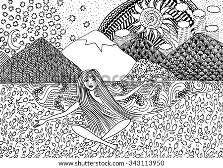 Black and white vector ethnic sketch. Naked girl sitting on the meadow by the lake on a background of mountains. Hand-drawn pattern