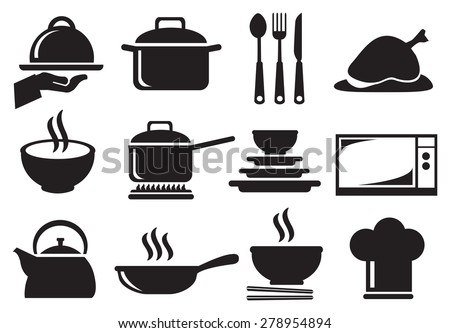 Black and white vector icons of kitchen utensils and equipment for cooking and food preparation isolated on white background. - stock vector