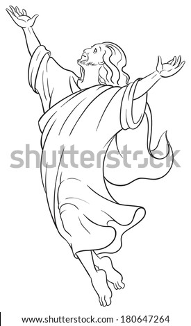 Black and white vector illustration Ascension of Jesus raising hands to God. Coloring page. Also available colored version - stock vector